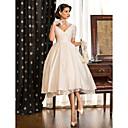 Χαμηλού Κόστους Συνθετικές περούκες χωρίς σκουφί-Γραμμή Α Λαιμόκοψη V Κάτω από το γόνατο Ταφτάς Κοντομάνικο Πεπαλαιωμένο Μικρά Άσπρα Φορέματα Φορέματα γάμου φτιαγμένα στο μέτρο με Δαντέλα / Χιαστί 2020