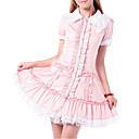 billige Lolitakjoler-Prinsesse Sweet Lolita Kjoler Dame Jente Bomull Japansk Cosplay-kostymer Blonder Kortermet Lolita