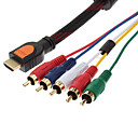 ราคาถูก เครื่องมือวัดอุณหภูมิ-HDMI ถึง 5 อาร์ซีเอ 5RCA AV Adapter Cable (สีดำ, 1.5M)