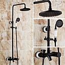 Χαμηλού Κόστους Κεφαλές Ντουζ-Βρύση Ντουζιέρας - Πεπαλαιωμένο Λαδωμένο Μπρούντζινο Σύστημα Ντουζ Κεραμική Βαλβίδα Bath Shower Mixer Taps / Ορείχαλκος / Ενιαία Χειριστείτε τρεις οπές
