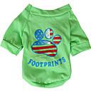 billiga Hundkläder-Hund T-shirt Hundkläder Andningsfunktion Gul Grön Kostym Cotton Amerikanska / USA Landsflagga XS S M L