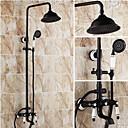 billiga Golvbrunnar-Duschkran - Antik Oljeaktig Brons Duschsystem Keramisk Ventil Bath Shower Mixer Taps / Mässing / Två handtag tre hål
