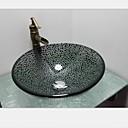 billiga Fristående tvättställ-Badrumskran / Badrums Monteringssing / Badrums Vattenavlopp Antik - Härdat Glas Rund Vessel Sink