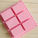 זול תבניות לעוגות-6 חללי תבניות עוגת שוקולד בעבודת יד סבון מלבן 3D, סיליקון 8 × 5.5 × 2.5 סנטימטר (3.1 × 2.2 × 1.0 אינץ ')