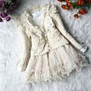 Χαμηλού Κόστους Σετ ρούχων για κορίτσια-Νήπιο Κοριτσίστικα Γλυκός Καθημερινά Μονόχρωμο Δαντέλα Πλισέ Αχλάδι Μακρυμάνικο Βαμβάκι Σετ Ρούχων Μπεζ