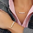 billiga Jewelry Set-Dam Pärla Smycken Set Flytande Läcker damer Europeisk Mode Delikat Pärla Oäkta pärla örhängen Smycken Guld Till Party Speciellt Tillfälle Årsdag Födelsedag Gåva Dagligen / Dekorativa Halsband