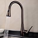 ราคาถูก ก๊อกน้ำห้องครัว-ก๊อกน้ำสำหรับห้องครัว - One Hole ทองแดงขัดน้ำมัน ดึงออก / ดึงลง ติดโต๊ะ แบบดั้งเดิม Kitchen Taps / Brass / จับเดี่ยวหนึ่งหลุม