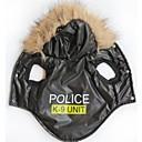 billiga Hundkläder-Katt Hund Huvtröjor Vinter Hundkläder Andningsfunktion Svart Kostym Terylen Polis / Militär Bokstav & Nummer XS S M L XXL XXXL