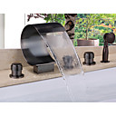 billige Badekraner-Badekarskran - Moderne Olje-gnidd Bronse Badekar Og Dusj Keramisk Ventil Bath Shower Mixer Taps / Messing / To Håndtak fem hull