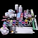 baratos Kits & Conjuntos para Unhas-61pçs gel de limpeza brilho uv unhas cartilha conjunto de arte