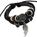 billiga Hästsvansar-Herr Berlock Armband Armband av Remmar Läder Armband Pärlor vävd Änglavingar Unik design Mode Paracord Armband Smycken Svart Till Julklappar Dagligen