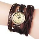 billiga Armbandsklockor-Dam Armbandsklocka Quartz Vadderat PU-läder Svart / Vit / Blå Heta Försäljning Ramtyp Blomma Bohemisk Mode - Blå Ljusbrun Mörkbrun