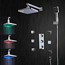 Χαμηλού Κόστους Βρύσες Ντουζιέρας-Βρύση Ντουζιέρας - Σύγχρονο Χρώμιο Σύστημα Ντουζ Κεραμική Βαλβίδα Bath Shower Mixer Taps / LED / Ντουζιέρα Βροχή / Ροή Νερού / Ορείχαλκος / Τρεις λαβές πέντε τρύπες