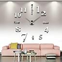 baratos Plantas Artificiais-Sem moldura grande diy relógio de parede, moderno 3d relógio de parede com espelho números adesivos para home office decorações presente (prata)