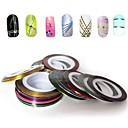 billiga folie Papper-12 pcs Nail Foil Striping Tape nagel konst manikyr Pedikyr Dagligen Abstrakt / Mode / Foliebandspapp
