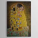 Χαμηλού Κόστους Πίνακες Τοπίων-ζωγραφισμένο στο χέρι λάδι ζωγραφική το φιλί από gustav klimt με τεντωμένο πλαίσιο