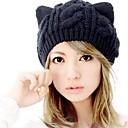 ราคาถูก หมอนอิง-สำหรับผู้หญิง สีพื้น ขนสัตว์ หมวกหย่อน ฤดูหนาว สีดำ / น่ารัก / หมวกและหมวกแก๊ป