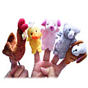 ราคาถูก หุ่นกระบอก-ไก่ Duck สุนัข Finger Puppet Puppets น่ารัก แปลกใหม่ Cartoon สิ่งทอ Plush เด็กผู้หญิง Toy ของขวัญ 5 pcs