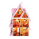 billige Dukkehus-DIY miniatyr solskinn alice dukkehus villa med møbler og lamper leketøy