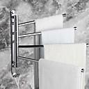 Χαμηλού Κόστους Φωτιστικά μπάνιου-περιστρεφόμενη μπάρα πετσετών από ανοξείδωτο χάλυβα 4-βραχίονα περιστρεφόμενη κρεμάστρα μπάνιου πετσέτα ράφι στήριγμα αποθήκευσης οργανωτής εξο
