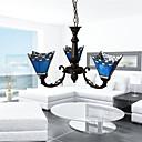 billiga Hängande belysning-3-Light Candle-stil Ljuskronor Xelogen & Krypton Elektropläterad Metall Glas stearinljus stil 110-120V / 220-240V / E26 / E27