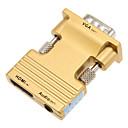 Χαμηλού Κόστους Λάμπες Σφαίρα LED-0,1 0.328ft HDMI θηλυκό σε VGA αρσενικό + θηλυκό ήχου καλώδιο σύνδεσης HD - χρυσό