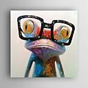 billiga Abstrakta målningar-handmålad oljemålning djur pop art glad groda med glasögon på duk väggkonst