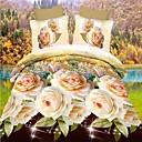 ราคาถูก ปลอกผ้าห่มลายดอกไม้-ปกผ้านวมชุด 3d โพลีเอสเตอร์ดอกไม้ปฏิกิริยาพิมพ์ 4 ชิ้นชุดเครื่องนอน (1 ปกผ้านวม, 1 แผ่นแบน, 2 shams)
