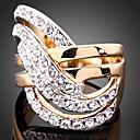 billige Vintage Ring-Dame Statement Ring Kubisk Zirkonium liten diamant Skjermfarge Kubisk Zirkonium Gullbelagt Fuskediamant damer Uvanlig Luksus Bryllup Fest Smykker Pave