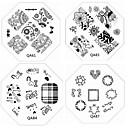 billiga Nagelstämpling-1st nya nagel stämpling bildplattor chic spets blomma kärlek platta för diy nagel konst dekorationer (diverse mönster)