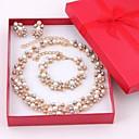 Χαμηλού Κόστους Θρησκευτικά Κοσμήματα-Γυναικεία Πολύχρωμο Μαργαριταρένια Σετ Κοσμημάτων Κρεμαστά Σκουλαρίκια Βραχιόλι με χάντρες κυρίες Κομψό Νυφικό Μαργαριτάρι Στρας Επιχρυσωμένο Σκουλαρίκια Κοσμήματα Χρυσαφί / Λευκό Για / Κολιέ