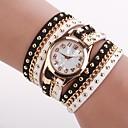 ราคาถูก รองเท้าแตะ-สำหรับผู้หญิง นาฬิกาแฟชั่น นาฬิกาสร้อยข้อมือ นาฬิกาอิเล็กทรอนิกส์ (Quartz) PU Leather ดำ / สีขาว ระบบอนาล็อก สีดำและสีขาว หนึ่งปี อายุการใช้งานแบตเตอรี่ / Jinli 377