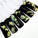 Χαμηλού Κόστους Συνθετικές περούκες με δαντέλα-24pcs ανακατεύουμε χρυσό λουλούδι διακόσμηση καρφί μπλε φόντο αυτοκόλλητο καρφί τέχνης