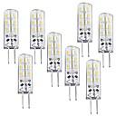 billiga LED-bi-pinlampor-8pcs 1 W LED-lampa 100-120 lm G4 T 24 LED-pärlor SMD 3014 Bimbar Varmvit 12 V