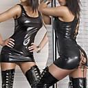 Χαμηλού Κόστους 3D κουρτίνες-νυχτερινό κέντρο χορεύτρια μαύρο PU δέρμα φόρεμα εξαιρετικά σέξι ομοιόμορφη