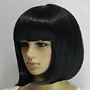 Χαμηλού Κόστους Συνθετικές περούκες χωρίς σκουφί-Συνθετικές Περούκες Ίσιο Ίσια Κούρεμα καρέ Περούκα Κοντό Μαύρο Συνθετικά μαλλιά Γυναικεία Φυσική γραμμή των μαλλιών Μαύρο