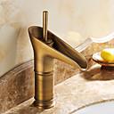 povoljno Slavine za umivaonik-Tradicionalno Središnje pozicionirane Keramičke ventila One Hole Jedan Ručka jedna rupa Antique Brass, Kupaonica Sudoper pipa