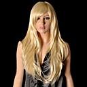 Χαμηλού Κόστους Συνθετικές περούκες με δαντέλα-Συνθετικές Περούκες Ίσιο Ίσια Με αφέλειες Περούκα Ξανθό Συνθετικά μαλλιά 26 inch Γυναικεία Ξανθό