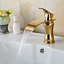 olcso Fürdőszobai kagyló csaptelep-Fürdőszoba mosogató csaptelep - Vízesés Ti-PVD Három lyukas Egy fogantyú egy lyukkal