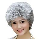 billiga Glödlampor-Syntetiska peruker Lockigt Lockigt Asymmetrisk frisyr Peruk Korta Silver Syntetiskt hår 12 tum Dam Naturlig hårlinje Grå