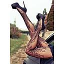 זול נעלי עקב לנשים-בגדי ריקוד נשים דק סקסית גרביונים - סרוג שחור מידה אחת