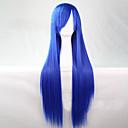 ราคาถูก วิกผมคอสตูม-วิกส์คอร์สเพลย์ วิกผมสังเคราะห์ Straight ตรง อสมมาตรตัดผม ผมปลอม ยาว สีฟ้า สังเคราะห์ 28 inch สำหรับผู้หญิง เส้นผมธรรมชาติ ฟ้า