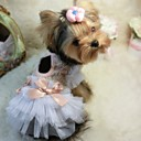 billiga Hundkläder-Hund Klänningar Hundkläder Rosett Vit Rosa Cotton Kostym Till Sommar Cosplay Bröllop