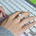billiga Moderingar-Dam Bandring Kristall Silver Pärla Bergkristall Diamantimitation damer Lyx Bröllop Party Smycken Billig Justerbar / Legering