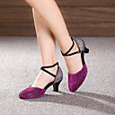 ราคาถูก รองเท้าเต้นโมเดิร์นและรองเท้าบัลเล่ต์-สำหรับผู้หญิง รองเท้าเต้นรำ Paillette / หนังนิ่ม โมเดอร์น หัวเข็มขัด ส้น ส้นCuban ไม่ตัดเฉพาะ สีบานเย็น / ม่วง / น้ำเงินรอยัล / EU36