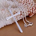 olcso Vallásos ékszerek-Női Nyaklánc medálok Križ hölgyek Alap minimalista stílusú Ezüst Nyakláncok Ékszerek 1db Kompatibilitás Esküvő Parti Ajándék Napi Hétköznapi