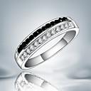 billige Engasjement-Dame Band Ring spinnring Kubisk Zirkonium Svart / Hvit Sølv Kubisk Zirkonium Fuskediamant Statement Mote Fest Smykker