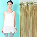 Χαμηλού Κόστους Εξτένσιονς μαλλιών με κλιπ-Κουμπωτό Επεκτάσεις ανθρώπινα μαλλιών Ίσιο Φυσικά μαλλιά Μεσαίο Καφέ / Λευκό Ξανθό