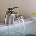 billiga Tvättställsblandare-Badrum Tvättställ Kran - Vattenfall Nickelborstad Centerset Ett hål / Singel Handtag Ett hålBath Taps