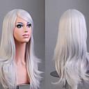 Χαμηλού Κόστους Συνθετικές περούκες με δαντέλα-Συνθετικές Περούκες Σγουρά Φυσικό Κυματιστό Kardashian Στυλ Ασύμμετρο κούρεμα Περούκα Ασημί Συνθετικά μαλλιά Γυναικεία Φυσική γραμμή των μαλλιών Λευκή Περούκα Μεσαίο Μακρύ